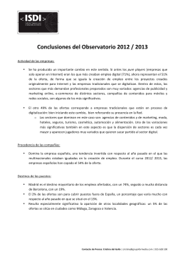 Conclusiones del Observatorio 2012 / 2013