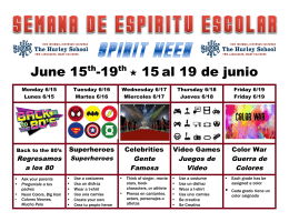 June 15th-19th 15 al 19 de junio