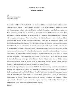 Acta de defunción de Pedro Infante