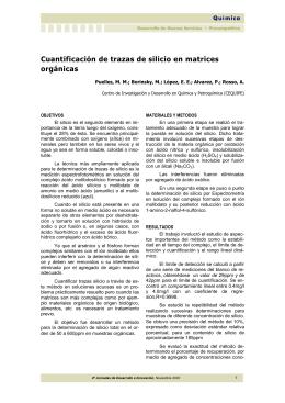 Cuantificación de trazas de silicio en matrices orgánicas