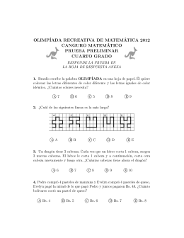 OLIMPÍADA RECREATIVA DE MATEMÁTICA 2012 CANGURO