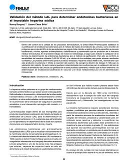 Validación del método LAL para determinar endotoxinas