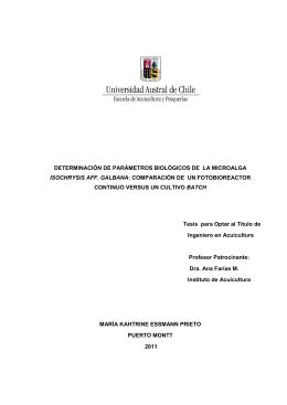 determinación de parámetros biológicos de la microalga isochrysis