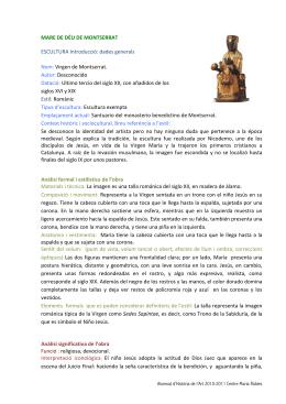 MARE DE DÉU DE MONTSERRAT ESCULTURA Introducció: dades