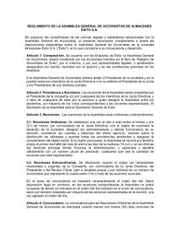 Reglamento de la Asamblea General de Accionistas