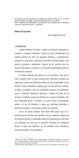Delitos de Expresión. Javier Augusto De Luca 1. Introducción