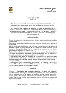 Ministerio de Comercio, Industria y Turismo Decreto 1299 de 2006