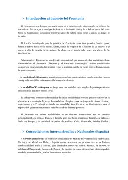 Introducción al deporte del Frontenis Competiciones Internacionales
