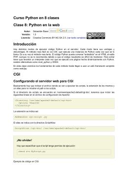 Curso Python en 8 clases Clase 8: Python en la web Introducción CGI