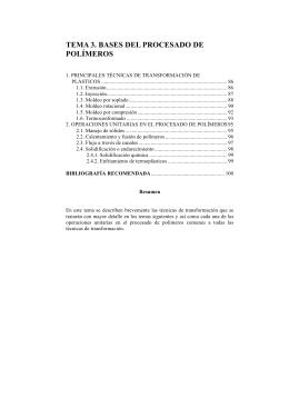 TEMA 3. BASES DEL PROCESADO DE POLÍMEROS