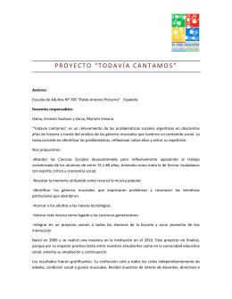 """PROYECTO """"TODAVÍA CANTAMOS"""" - Jóvenes y Mundo del Trabajo"""