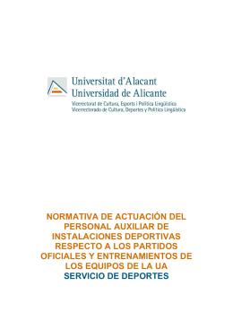 normativa de actuación del personal auxiliar de instalaciones