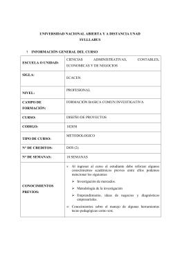 SYLLABUS Diseño de Proyectos - 102058