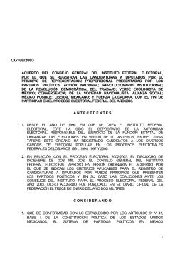 Acuerdo registro de candidatos para Diputados de Represent…