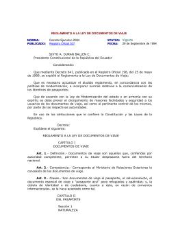 REGLAMENTO A LA LEY DE DOCUMENTOS DE VIAJE NORMA