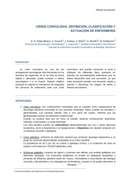crisis convulsiva. definición, clasificación y actuación de enfermería