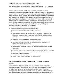 ATENCION INMEDIATA DEL RECIEN NACIDO SANO Dra. Andrea