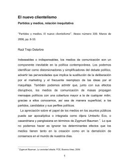 Partidos y medios. El nuevo clientelismo. Nexos, marzo 2006