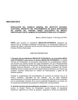 INE/CG267/2015 - Instituto Nacional Electoral