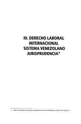 ui. derecho laboral internacional sistema venezolano jurisprudencia