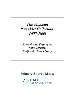The Mexican Pamphlet Collection, 1605-1888 - Gale