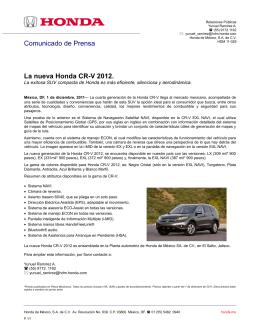 Comunicado de Prensa La nueva Honda CR