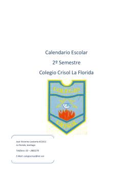 Calendario Escolar 2º Semestre Colegio Crisol La Florida