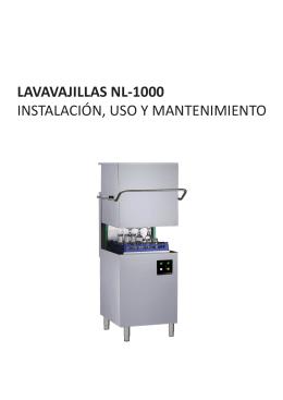 LAVAVAJILLAS NL-1000 INSTALACIÓN, USO Y MANTENIMIENTO