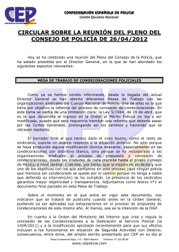 circular sobre la reunión del pleno del consejo de policía de 26/04