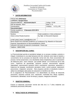 Psicomotricidad II - Pontificia Universidad Católica del Ecuador