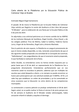 Carta abierta al Alcalde