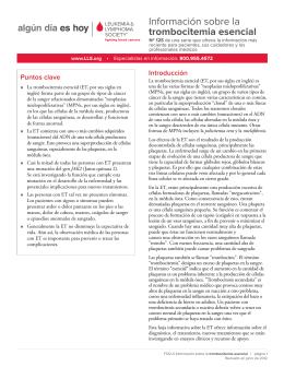 La trombocitemia esencial - Leukemia & Lymphoma Society