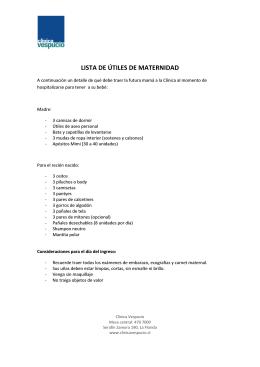 LISTA DE ÚTILES DE MATERNIDAD