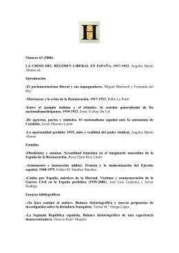 LA CRISIS DEL RÉGIMEN LIBERAL EN ESPAÑA, 1917