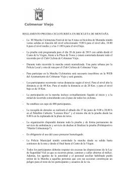 RECLAMENTO DE LA MARCHA CICLOTURISTA 2015.