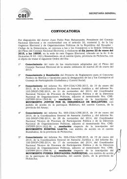 Jueves, 22 de enero de 2015 - Consejo Nacional Electoral