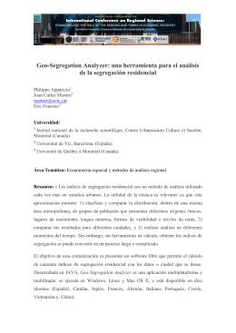 Geo-Segregation Analyzer: una herramienta para el análisis de la