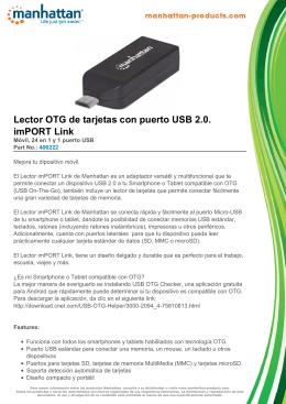 Lector OTG de tarjetas con puerto USB 2.0. imPORT Link