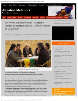 Entrevista con Geneva Call – Derecho Internacional Humanitario