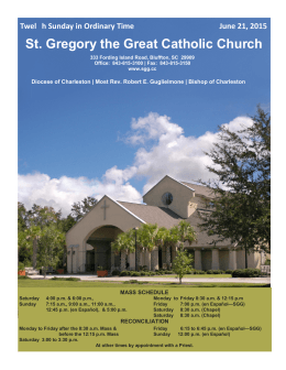 St. Gregory the Great Catholic Church Twel h Sunday in Ordinary