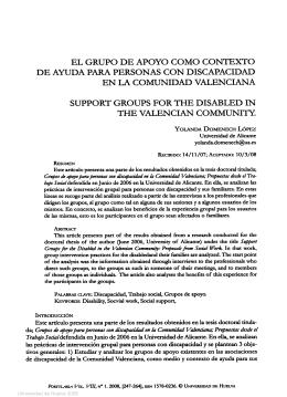 el grupo de apoyo como contexto de ayuda para personas con