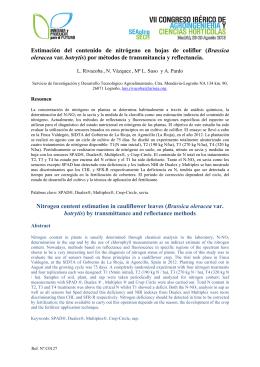 Estimación del contenido de nitrógeno en hojas de coliflor (Brassica