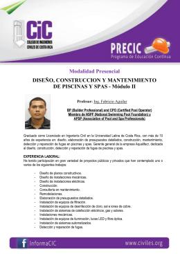 Modalidad Presencial DISEÑO, CONSTRUCCION Y