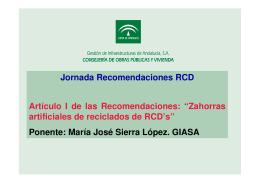 Zahorras artificiales de reciclados de RCD`s