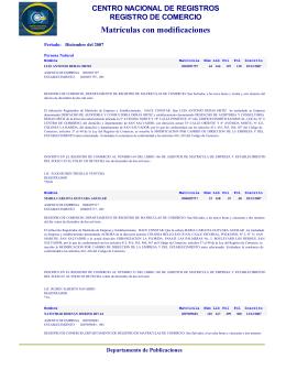 Matrículas con modificaciones - Centro Nacional de Registros