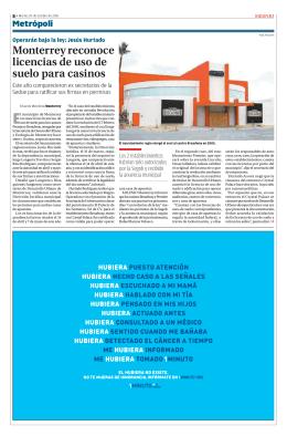 Monterrey reconoce licencias de uso de suelo para casinos (Milenio