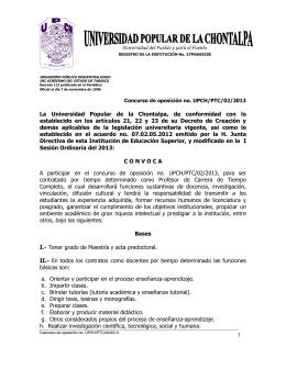 1 La Universidad Popular de la Chontalpa, de conformidad