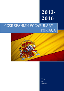 GCSE SPANISH VOCABULARY – FOR AQA