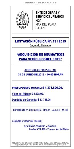 B1 # CARATULA DE PLIEGOS - Municipalidad de General