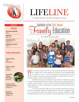 2015 LIFELINE-Summer_Layout 1 - Florida Hemophilia Association